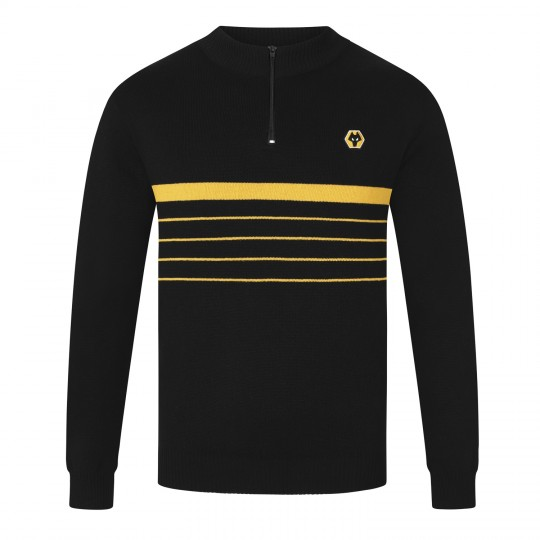 Chest Stripe Quarter Zip Sweater