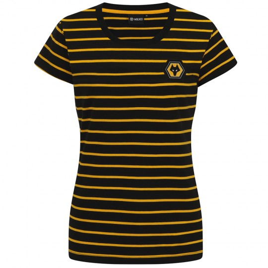 Essentials Striped T-Shirt - Black/Gold - Womens