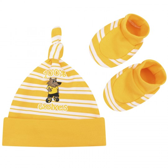 GOLD STRIPE HAT AND BOOTEE SET