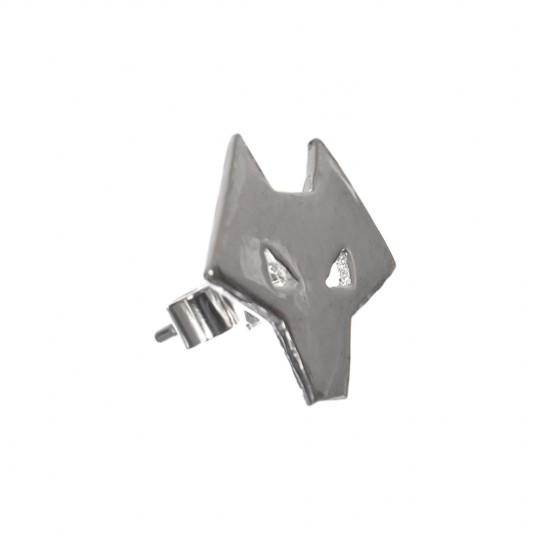 Wolf Head Stud Earrings Silver