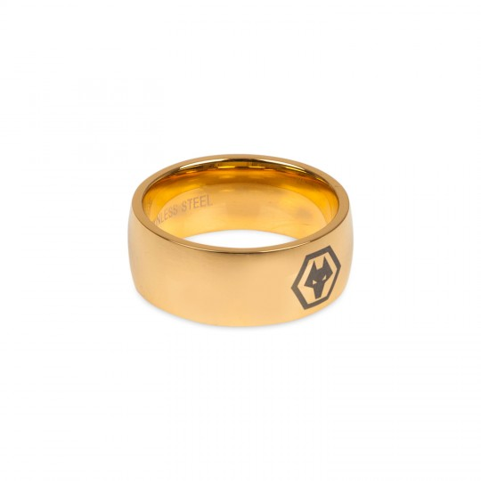 GOLD PLATED WOLVES LOGO RING
