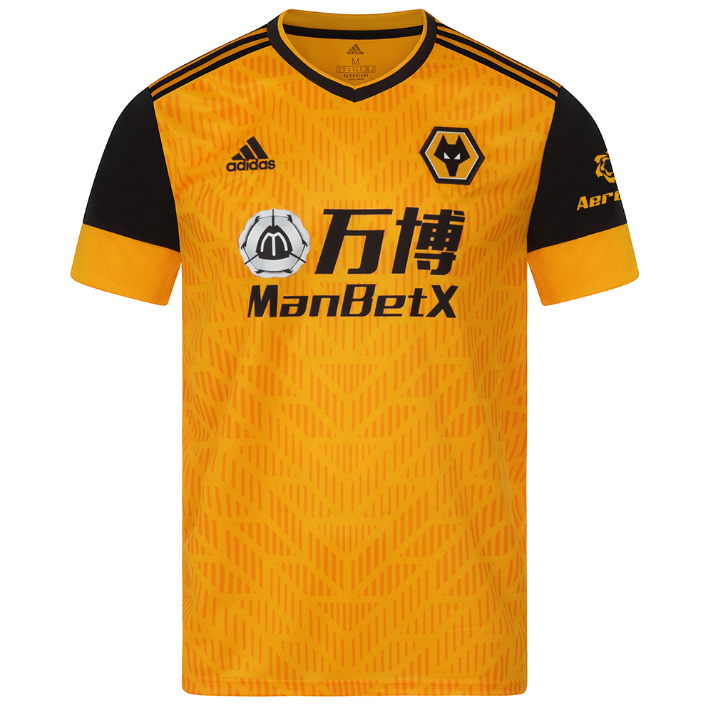 2020-21 Wolves Home Shirt - Adult On match day, Molineux Stadium turns into a sea of gold and black. The design serves as a clean backdrop for the team's club crest to shine. Soft fabric keeps you dry from the stadium to the street.Moves sweat away from your skin so you stay dry every step of the way. Sweat but don't sweat it.This jersey is made with recycled polyester to save resources and decrease emissionsRibbed V-neck51% polyester, 49% recycled polyester doubleknitMoisture-absorbing AEROREADYEngineered stripes on the front