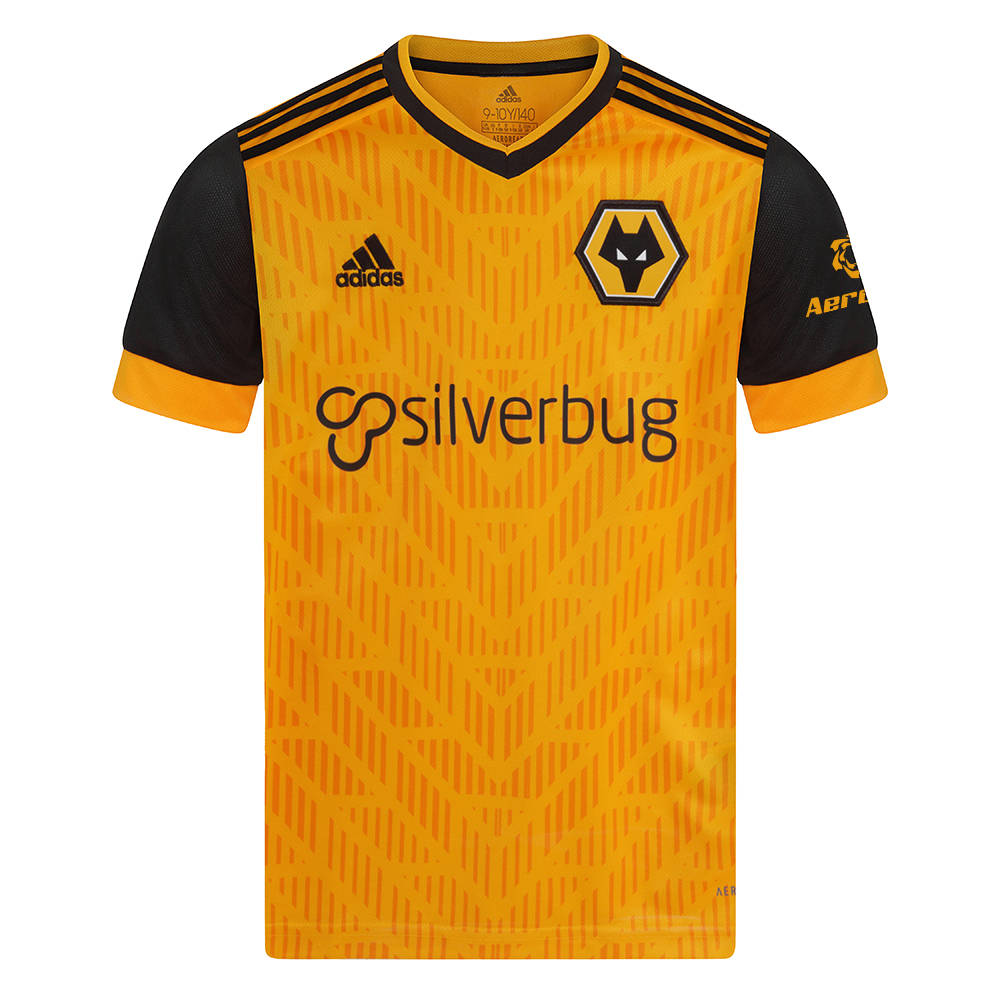 2020-21 Wolves Home Shirt - Junior On match day, Molineux Stadium turns into a sea of gold. Kit out your little fan to stand with their idols in this kids' adidas football jersey. The soft fabric keeps them dry. Doesn't matter if they're cheering along in the stands or on some playground, dreaming.Moves sweat away from your skin so you stay dry every step of the way. Sweat but don´t sweat it.This jersey is made with recycled polyester to save resources and decrease emissionsRibbed V-neck51% polyester, 49% recycled polyester doubleknitMoisture-absorbing AEROREADYEngineered stripes on the front