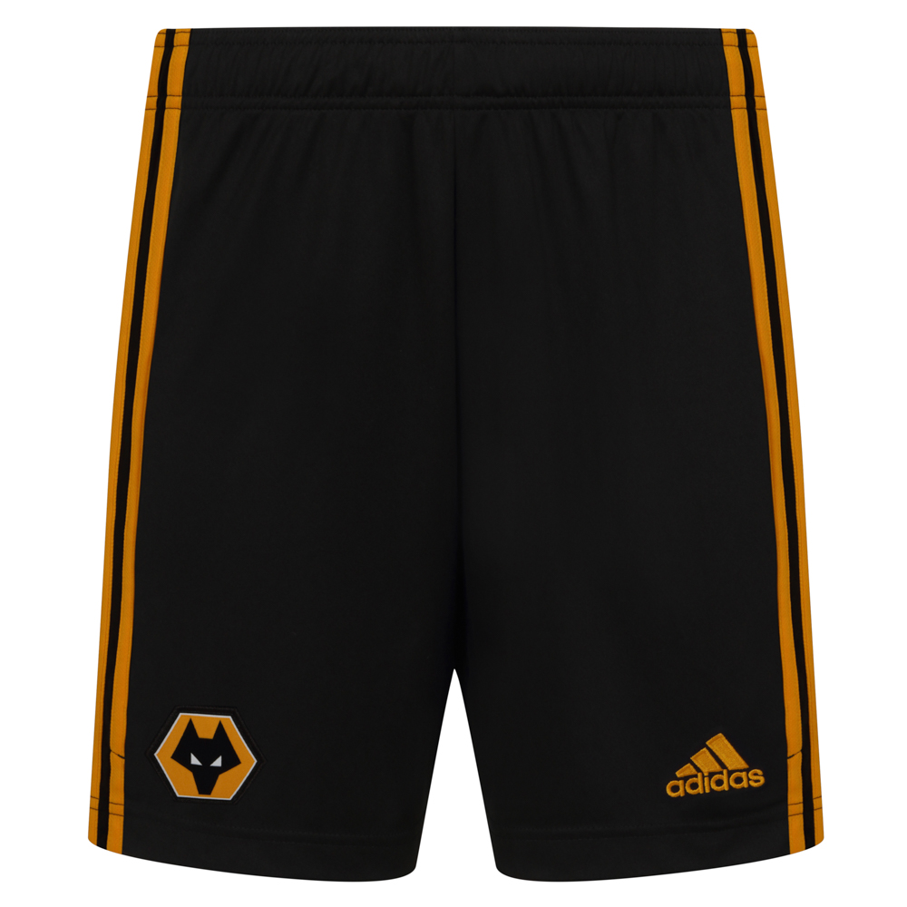 "2020-21 Wolves Home Shorts - Junior ""Featuring the Wolves crest on the front right leg and a gold adidas logo to the left leg. adidas gold stripes running down the side of both legs also.Elastic waist with drawcordLightweight, moisture-absorbing AEROREADY fabric100% Polyester"""