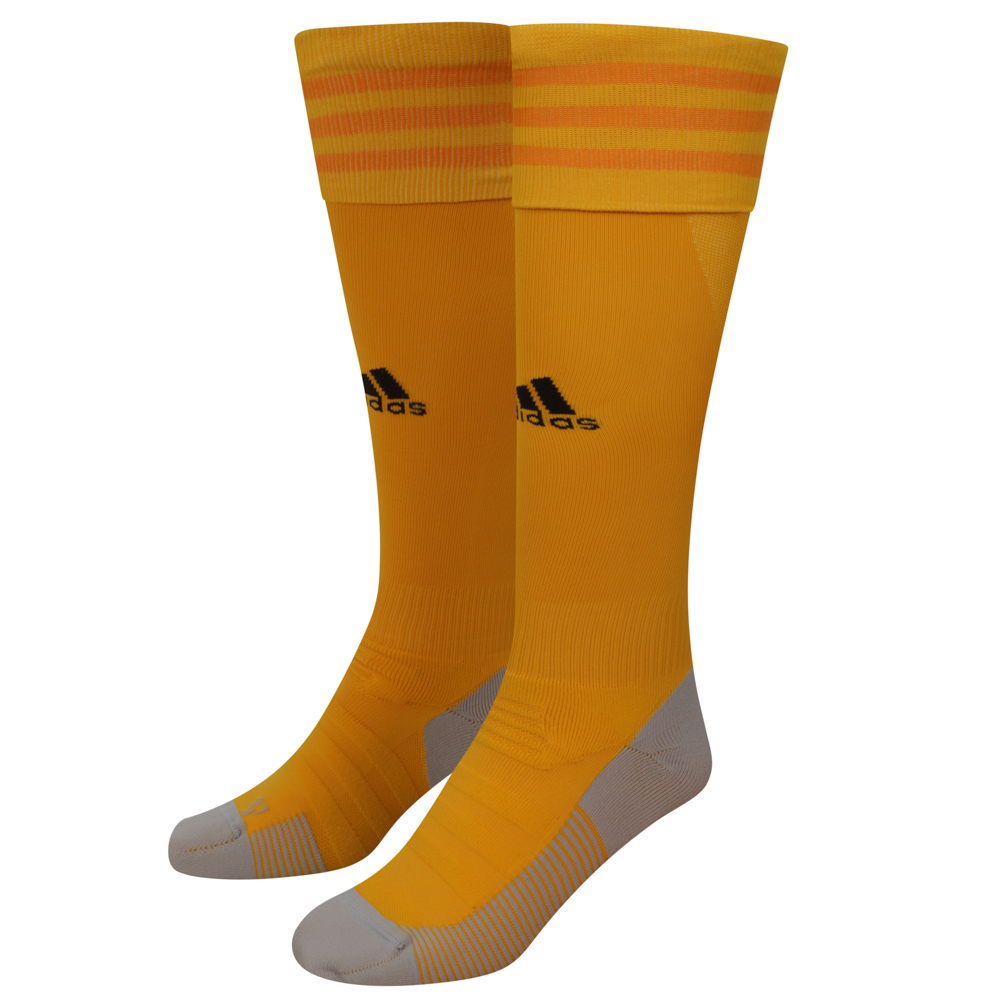 "2020-21 Wolves Home Socks - Junior ""Take your game further in these ventilated Wolves socks. Designed to offer a locked-in fit and greater comfort, they have strategically placed mesh ventilation to keep you cool on the pitch.A Gold sock with three adidas gold stripes and adidas logo to the front of the sock.Climacool and tech fit technology."""