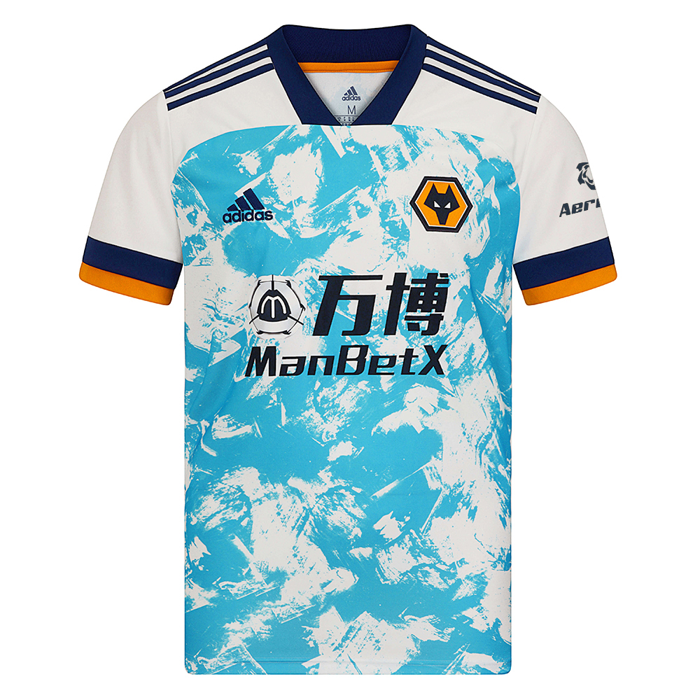 2020-21 Wolves Away Shirt - AdultThis Wolves Shirt stands out in bright blue with a navy collar and two-tone cuffs. Throw it on to stand with the team away day or any day. The soft fabric displays a woven crest on the chest.This Wolves Shirt is made with recycled polyester to save resources and decrease emissions.Moves sweat away from your skin so you stay dry every step of the way so sweat but don´t sweat it.100% rec polyesterRibbed V-neckMoisture-absorbing AEROREADY