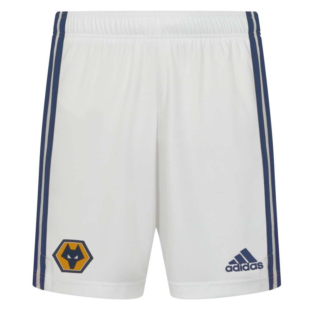 Wolves Away Shorts - AdultFeaturing a woven Wolves crest on the front right leg and a gold adidas logo to the left leg. adidas Navy stripes running down the side of both legs also.Lightweight, moisture-absorbing AEROREADY fabric100% Polyester