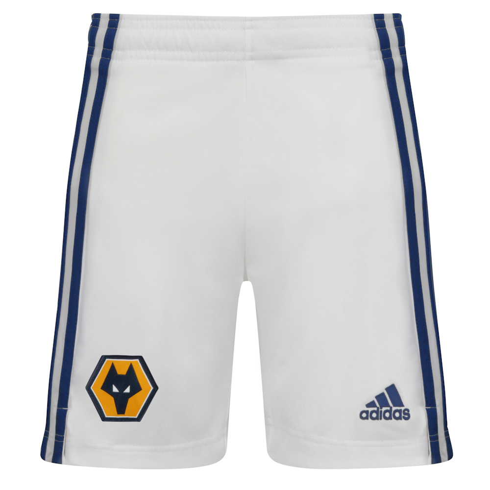 2020-21 Wolves Away Shorts - JuniorFeaturing a woven Wolves crest on the front right leg and a gold adidas logo to the left leg. adidas navy stripes running down the side of both legs also.Lightweight, moisture-absorbing AEROREADY fabric100% Polyester