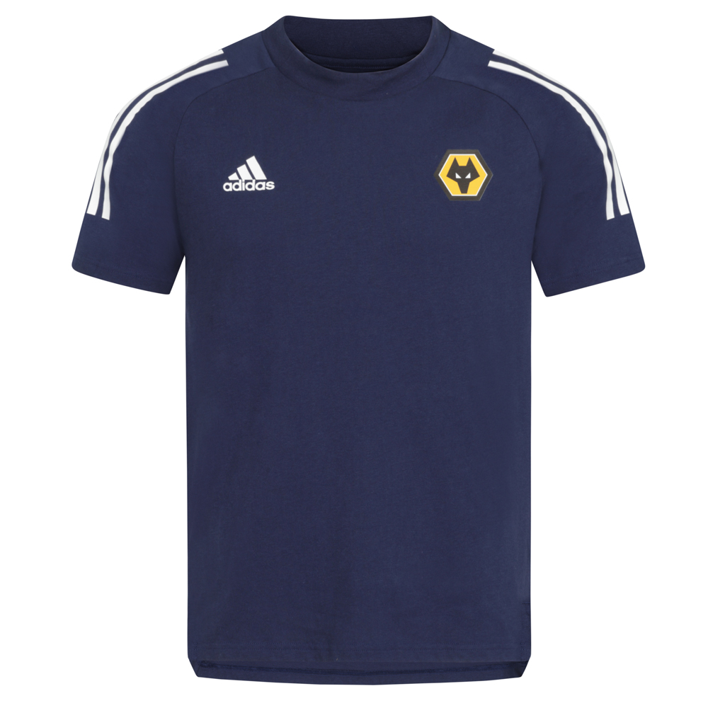 2020-21 Players T-Shirt - Navy On the sidelines. On the street. Represent the beautiful game.This Wolves adidas Players T - Shirt has heat-transfer details and a droptail hem. You can't always be doing what you love but you can at least stay comfortable while you're off the pitch.soft jersey sees to that.Partnered with the Better Cotton Initiative to improve cotton farming globallyBase Fabric : 100% CO Single jerseyRibbed crewneck