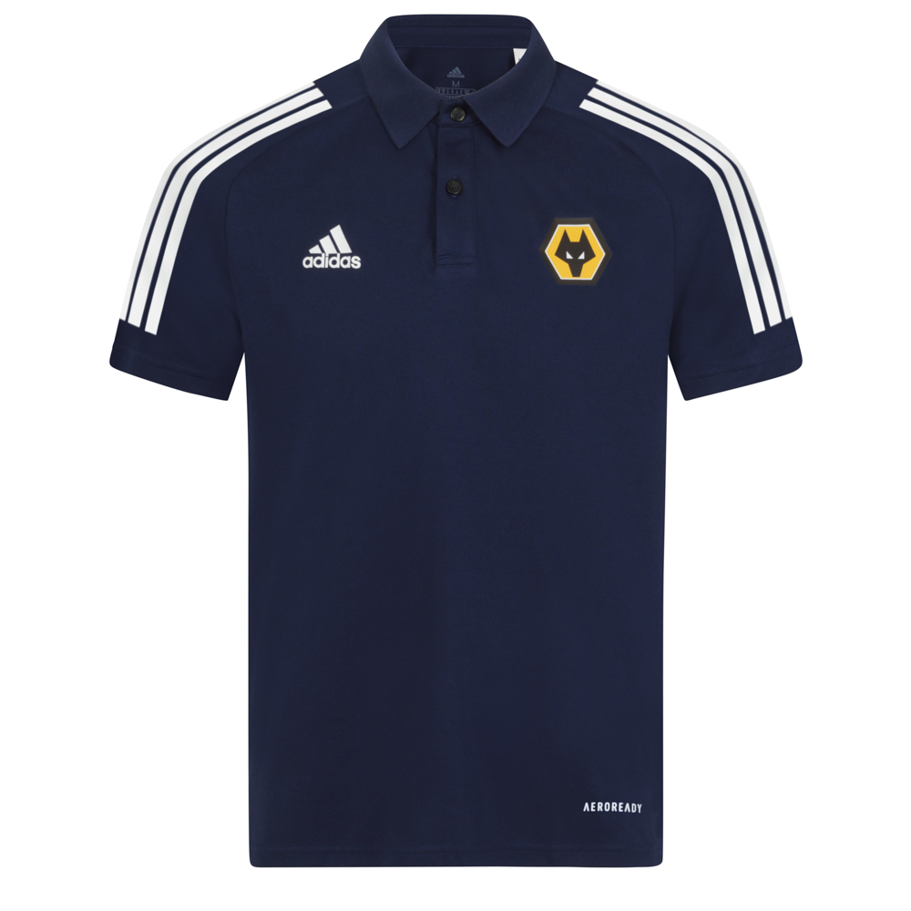 2020-21 Players Polo - NavyWork now, win later. Stay comfortable through any training session in this Wolves adidas polo shirt. It absorbs moisture, keeping you on top of your game. The lightweight fabric is brushed on the inner side for softness.58% Cotton/42% PolyesterTwo-button closureLightweight, moisture-absorbing AEROREADY fabric