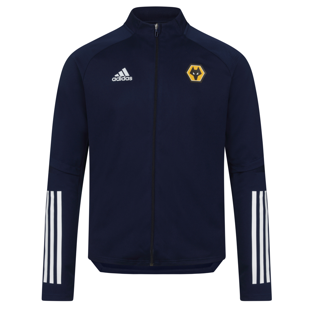 2020-21 Players Training Jacket - NavyWork now, win later. Zip on this Wolves adidas Players Training Jacket when you need an extra layer during training. The lightweight fabric absorbs moisture, so you feel dry and comfortable. It's cut with a slim fit, giving you the freedom to move.This jacket is made with recycled polyester to save resources and decrease emissionsFull zip with low collar100% recycled polyester doubleknitLightweight, moisture-absorbing AEROREADY fabric