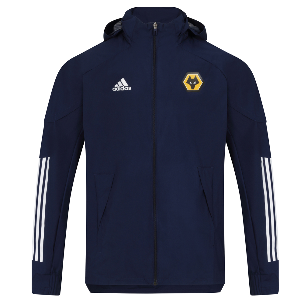 2020-21 Players All Weather Jacket - Navy Let it rain. No matter the forecast, this Wolves adidas All Weather Jacket keeps you ready to work. It blocks wind and heavy showers while managing moisture.Stash your essentials into the zip pockets and pack away the hood when the clouds clear.Full zip with packable hood100% recycled polyester plain weaveZip pockets