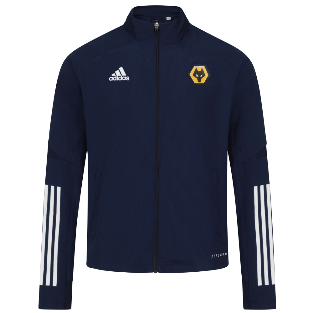 2020-21 Players Presentation Jacket - Navy On the sidelines. On the street. Represent the beautiful game. This Wolves Player Presentation Jacket shares its design with the ones pros wear when travelling to games. Its lightweight build means you'll hardly notice it.But thanks to its streamlined silhouette and floating adidas 3-Stripes, faeturing the Wolves Badge, everyone else will.This jacket is made with recycled polyester to save resources and decrease emissionsFull zip with stand-up collar100% recycled polyesterLightweight, moisture-absorbing AEROREADY fabric