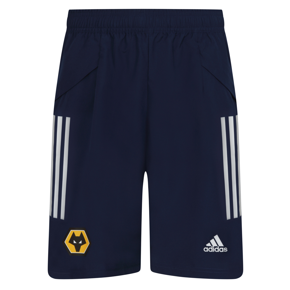 2020-21 Players Short - Navy On the sidelines. On the street. Represent the beautiful game.Showing off heat-transfer details, these Wolves adidas Players Shorts take football style into extra time. Their hard-wearing build and moisture-absorbing design keep you comfortable even when your downtime gets lively.These shorts are made with recycled polyester to save resources and decrease emissionsElastic waist with drawcord100% recycled polyesterLightweight, moisture-absorbing AEROREADY fabricZip pockets