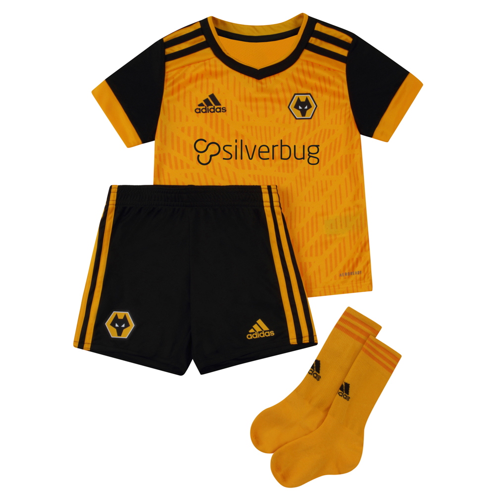 2020-21 Wolves Home Kit - Infant A dynamic allover design and black sleeves helps your little one to stand out from the crowd.The Shirt carries our junior front of shirt sponsor Silverbug.Comes complete with shorts and socks.