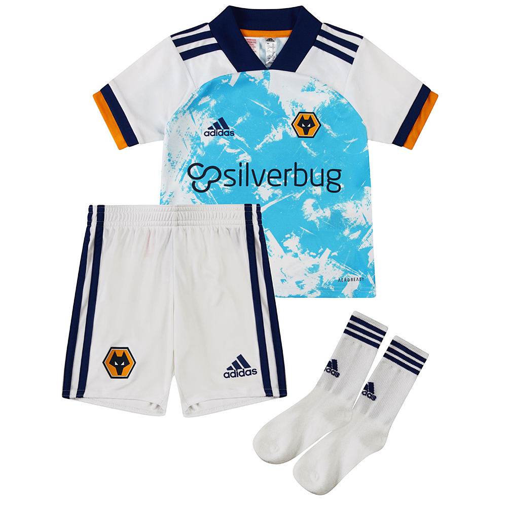 2020-21 Wolves Away Infant KitA dynamic allover design and white sleeves helps your little one to stand out from the crowd.The Shirt carries our junior front of shirt sponsor Silverbug.Comes complete with shorts and socks.100% polyester