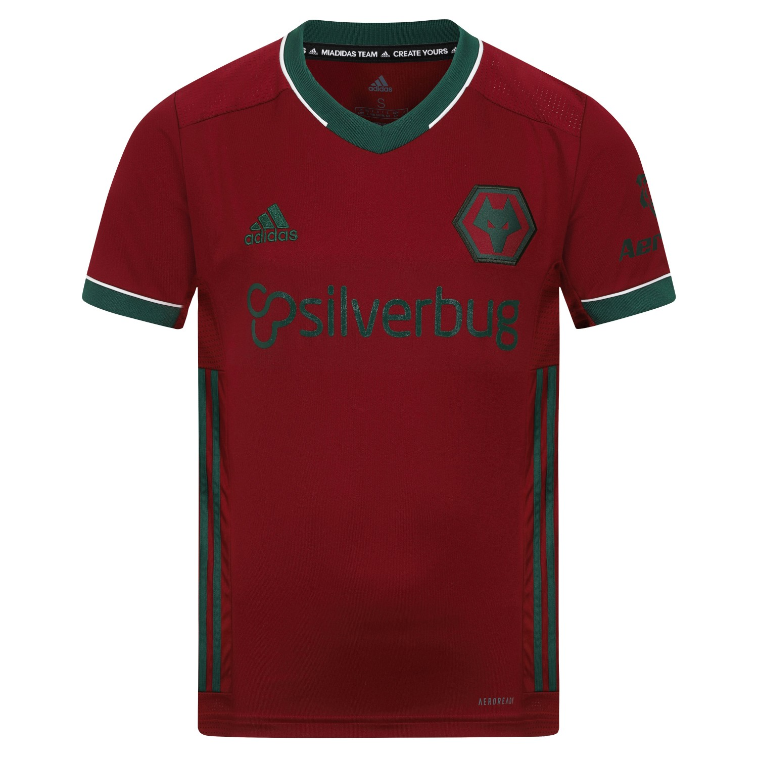 2020-21 Wolves 3rd Shirt - Junior This Wolves Shirt stands out from the crowd with a Burgundy and Green contrasting colour way Throw it on to stand with our team home or away.The soft fabric displays a Green contrasting woven crest on the chest.This Wolves Shirt is made with recycled polyester to save resources and decrease emissions.Moves sweat away from your skin so you stay dry every step of the way so sweat but don´t sweat it.100% rec polyesterRibbed V-neckMoisture-absorbing AEROREADY
