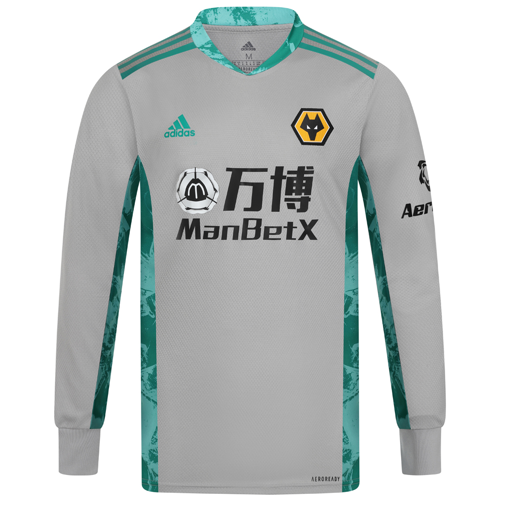 2020-21 Wolves 3rd Goalkeeper Shirt - Adult Others share the pitch. But the box is yours. Own it in a Wolves Goalkeeper Shirt that stands out from the crowd with a vibrant graphic on its sides and collar. Heat-transfer details and lightweight fabric combine to support lightning-fast reactions. This Wolves Goalkeeper Shirt is quick-drying for confident handling.Ribbed cuffs.Made with recycled polyester to save resources and decrease emissions50% polyester, 50% recycled polyester mock eyeletLightweight, moisture-absorbing AEROREADY fabricHighlight graphics on sides and under arms