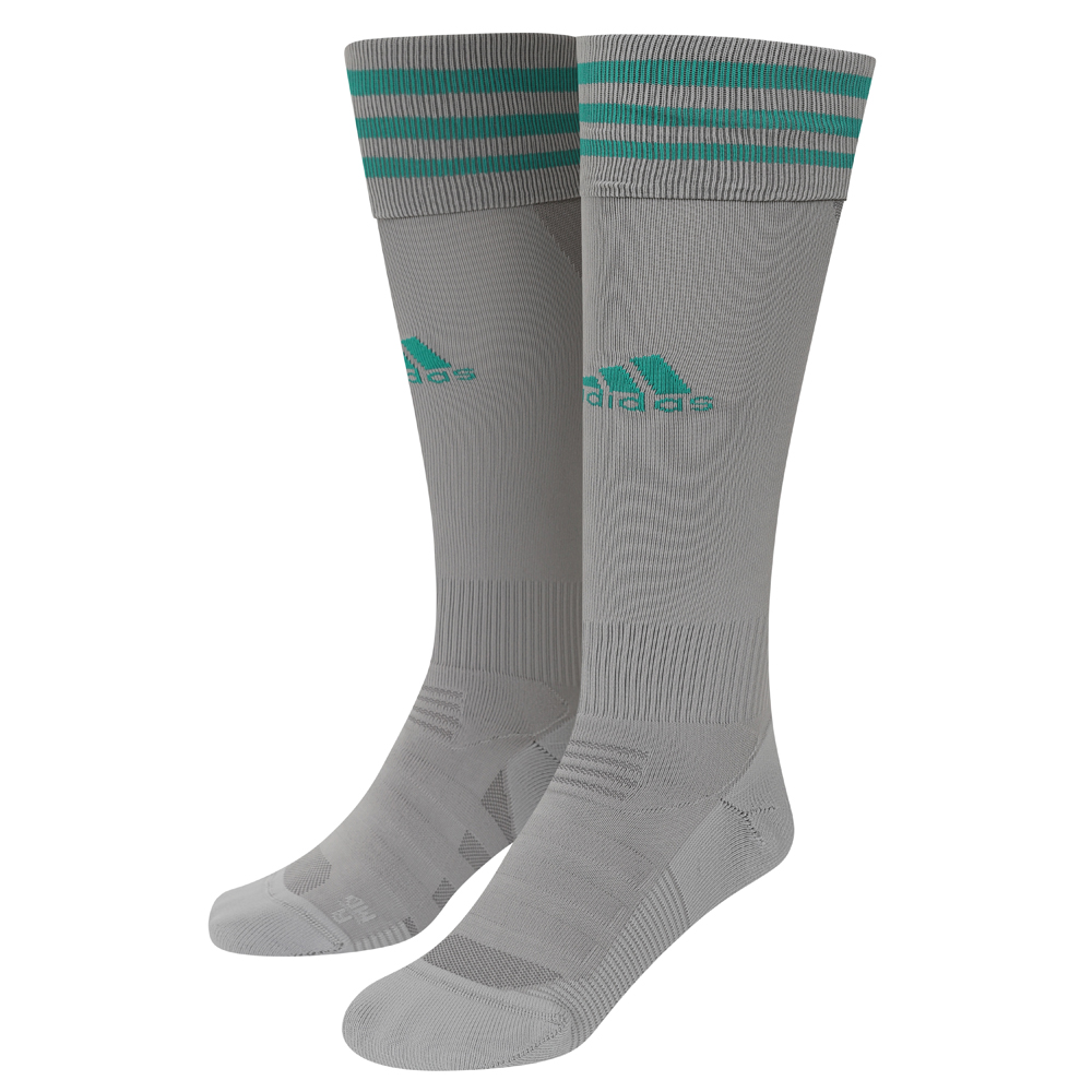 2020-21 Wolves 3rd Goalkeeper Socks - Junior Take your game further in these ventilated football socks. Designed to offer a locked-in fit and greater comfort, we have strategically placed mesh ventilation to keep you cool on the pitch.A Grey Sock with three Green adidas stripes and adidas logo to the front of the sock.