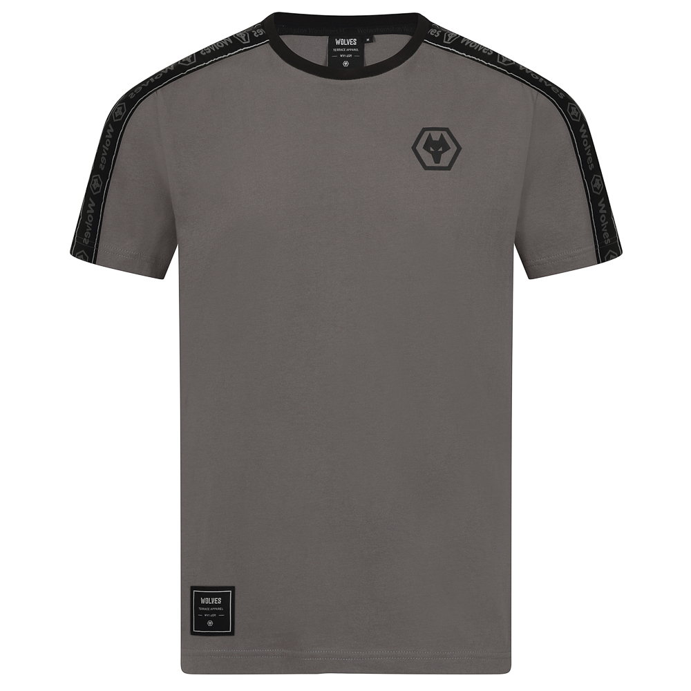 2000143 Terrace T-Shirt - Steel Grey A Fashion led range to envoke the emotions of a matchday.inspired by the latest trends and colours rather than those traditionally associated with the clubFor the fan who wants to show their support in a more stylish and fashion led way.2000143 Terrace T-Shirt - Steel Grey. Steel Grey colourway. Black text shoulder and sleeve taping. Short sleeved. Crew neck . Black Tonal Printed Crest . Terrace Apparel Branded neck tab. Terrace Apparel Branded Patch on hip. 100% Cotton