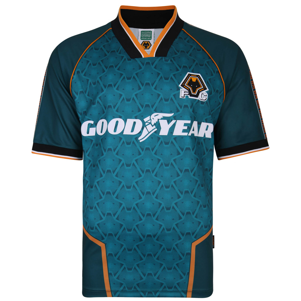 1996 Away Shirt This Replica 1996 Away Shirt as worn on the road by the side as they narrowly missed out on promotion from the First Division.The shirt features:All-over Wolves Pattern Classic 1990s-influenced CollarGoodyear Sponsor BrandingPolyester