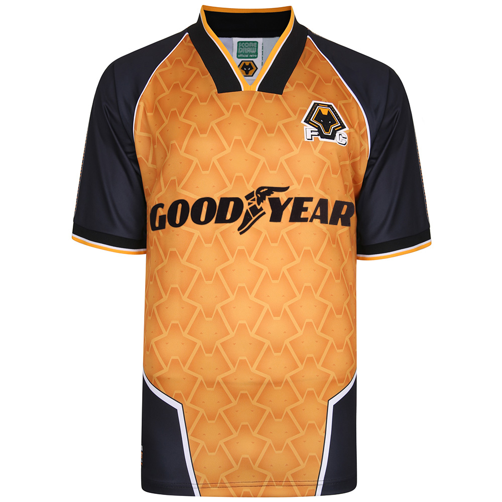 1996 Home Shirt This Replica 1996 Home Shirt as worn by the side as they narrowly missed out on promotion from the First Division.The shirt features:All-over Wolves Pattern Classic 1990s-influenced CollarGoodyear Sponsor BrandingPolyester