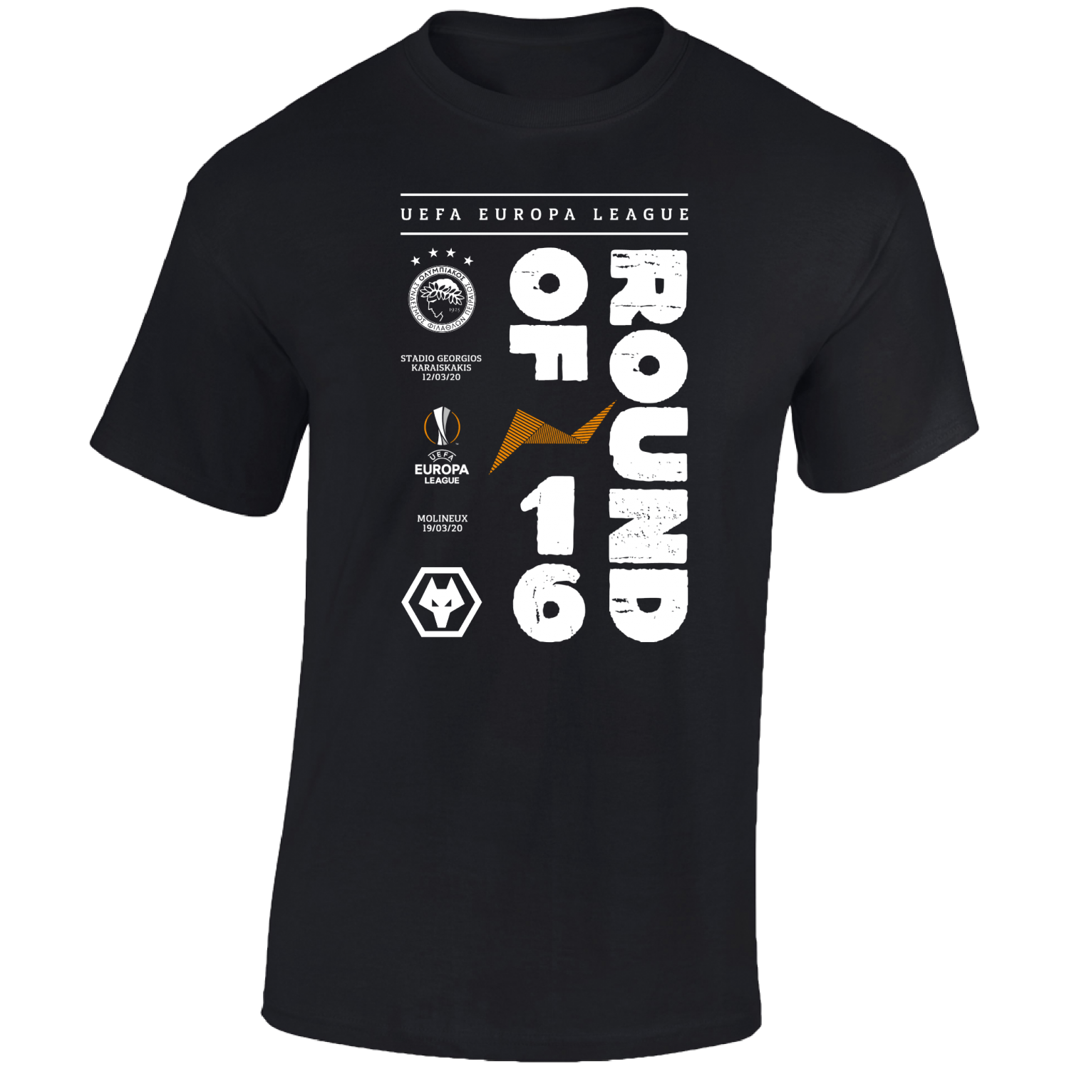 Round Of 16 V Olympiacos Printed T-shirt  Black