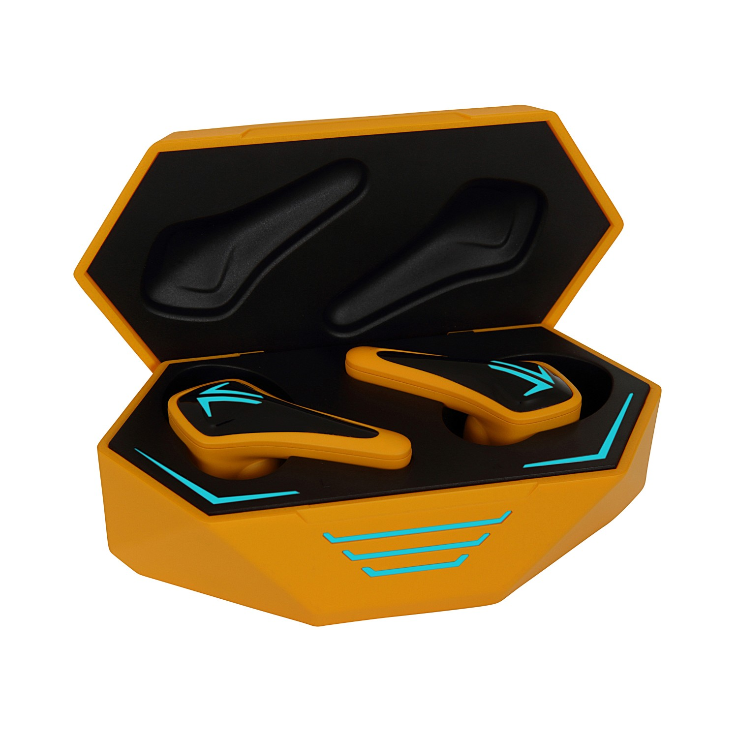 Spark Wireless Earphones - Wolves Edition - GoldThe latency of game mode is as low as 45ms, lossless surround sound quality;Dual microphone stereo call, calls clear and reliable;60mAh earbud, 500mAh charging case;Bluetooth 5.0, compatible with iOS and Android;IPX5 waterproof, no fear of sweat and rain;