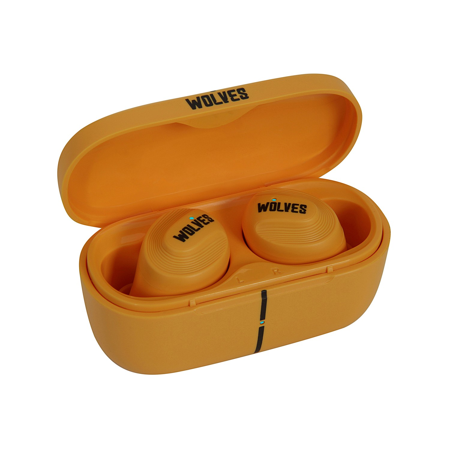 Nutmeg Wireless Earphones - Wolves Edition - GoldThe classic colors of gold and black are matched to show the distinctive style of Wolves. Lightweight designTouch Control Move your finger to switch various functions easily;Bluetooth V5.0 chip Fast connection, compatible with iOS and Android systems;HiFi chip with 6mm dynamic drive Restore the essence of sound;IPX5 Waterproof No fear of sweat and rain.