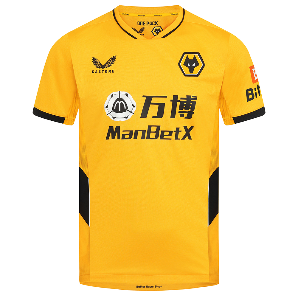 2021-22 Wolves Home Shirt - AdultBe Part Of the Pack, with the 2021-22 Wolves Home Shirt and show your pride on the street and in the stands.Featuring detailed colour matching and dyeing to be true Wolves Gold and bring it back home to the club and fans.A matte shine fabric to the reverse emulates flow and movement on the pitch. Contrast colour side panels for a modern impactful look.100% Polyester