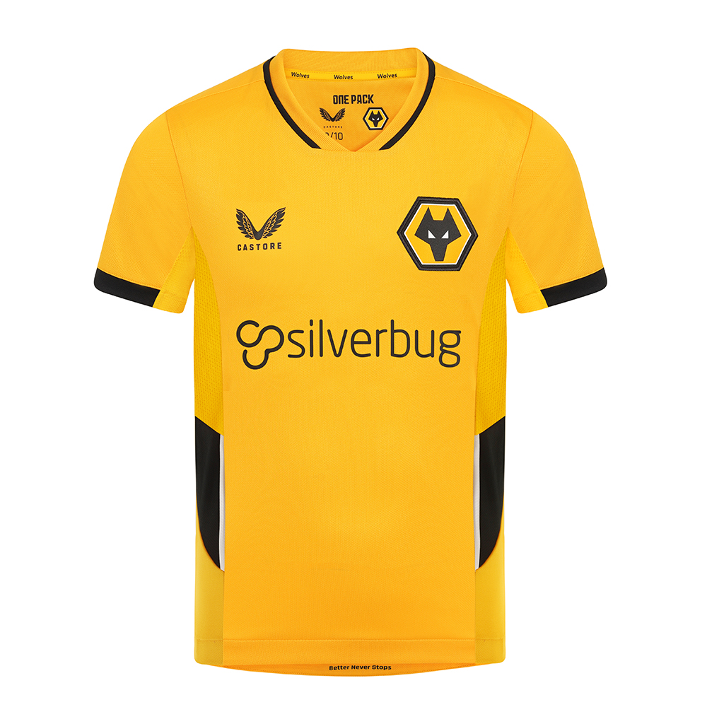 2021-22 Wolves Home Shirt - JuniorBe Part Of the Pack, with the 2021-22 Wolves Home Shirt and show your pride on the street and in the stands.Featuring detailed colour matching and dyeing to be true Wolves Gold and bring it back home to the club and fans.A matte shine fabric to the reverse emulates flow and movement on the pitch. Contrast colour side panels for a modern impactful look.100% Polyester
