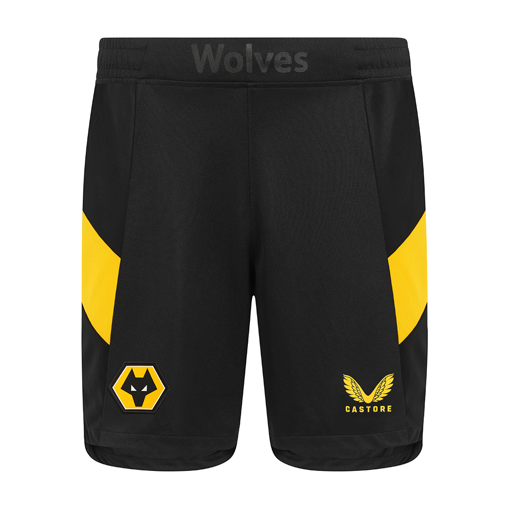 2021-22 Wolves Home Short - AdultBe Part Of the Pack, with the 2021-22 Wolves Home Short and show your pride on the streets and in the stands.Featuring Wolves crest and gold Castore logo, 'Wolves' branding at the centre front waistband to give a personal, bespoke touch for the players and fans along with contrast Gold side panels all make these a true Wolves short.100% Polyester