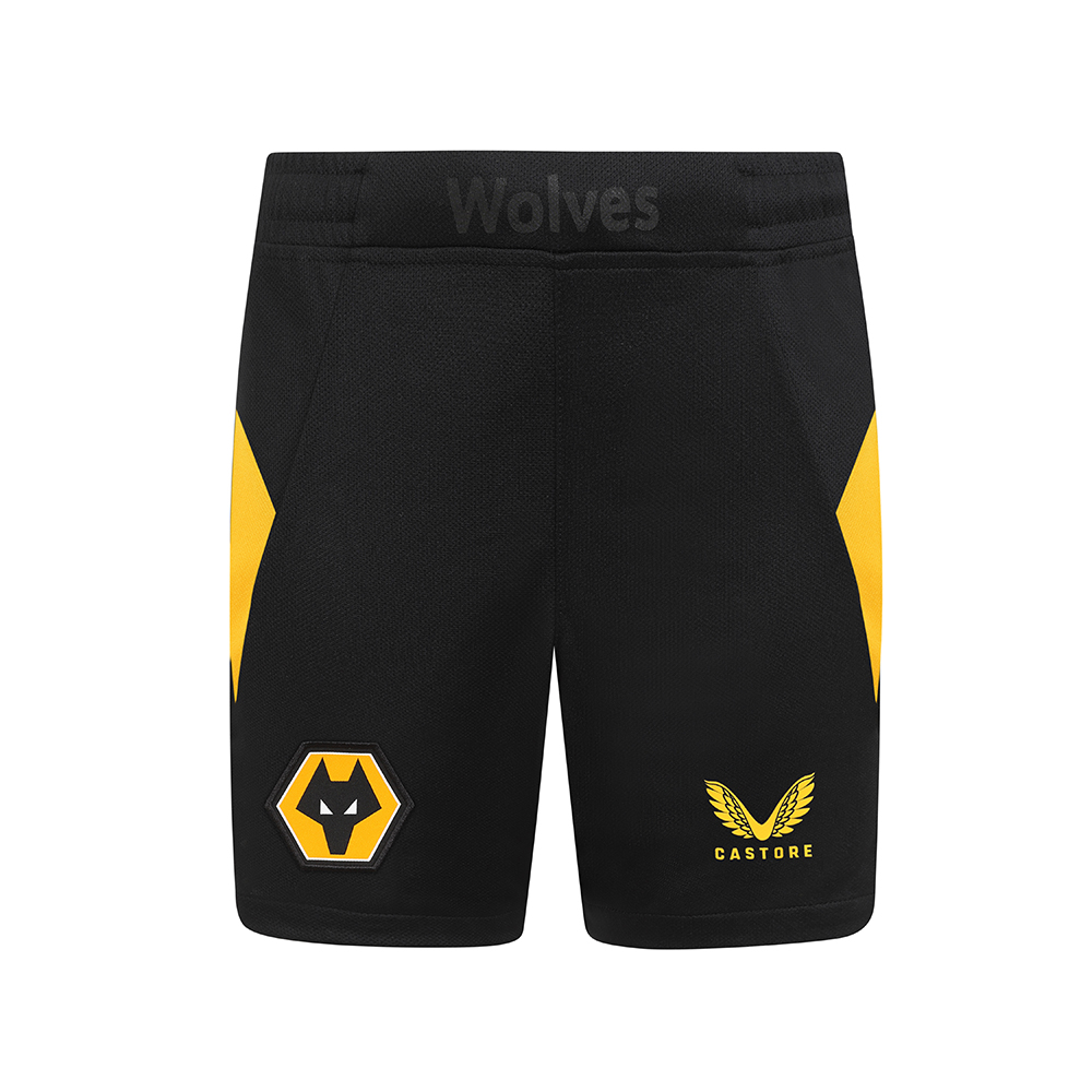 2021-22 Wolves Home Short - JuniorBe Part Of the Pack, with the 2021-22 Wolves Home Short and show your pride on the streets and in the stands.Featuring Wolves crest and gold Castore logo, 'Wolves' branding at the centre front waistband to give a personal, bespoke touch for the players and fans along with Contrast Gold side panels all make these a true Wolves short.100% Polyester