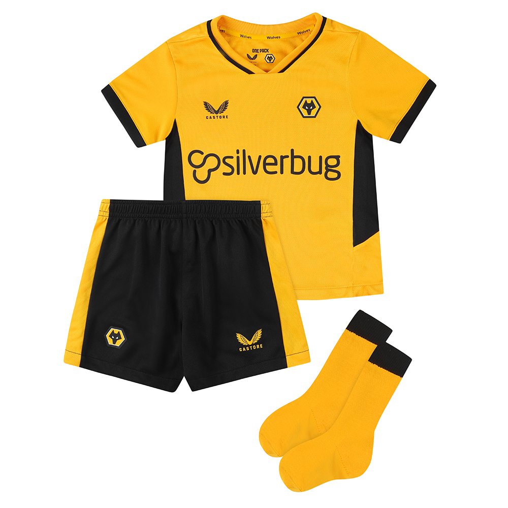 2021-22 Wolves Home Infant KitBe Part Of the Pack, with the 2021-22 Wolves Home Shirt and show your pride on the street and in the stands.Featuring detailed colour matching and dyeing to be true Wolves Gold and bring it back home to the club and fans.A matte shine fabric to the reverse emulates flow and movement on the pitch. Contrast colour side panels for a modern impactful look. Contains Shirt, shorts and socks for any little Wolves Fan.Shirt & Shorts: 100% PolyesterSocks: Polyamide 98%, Elastane 2%