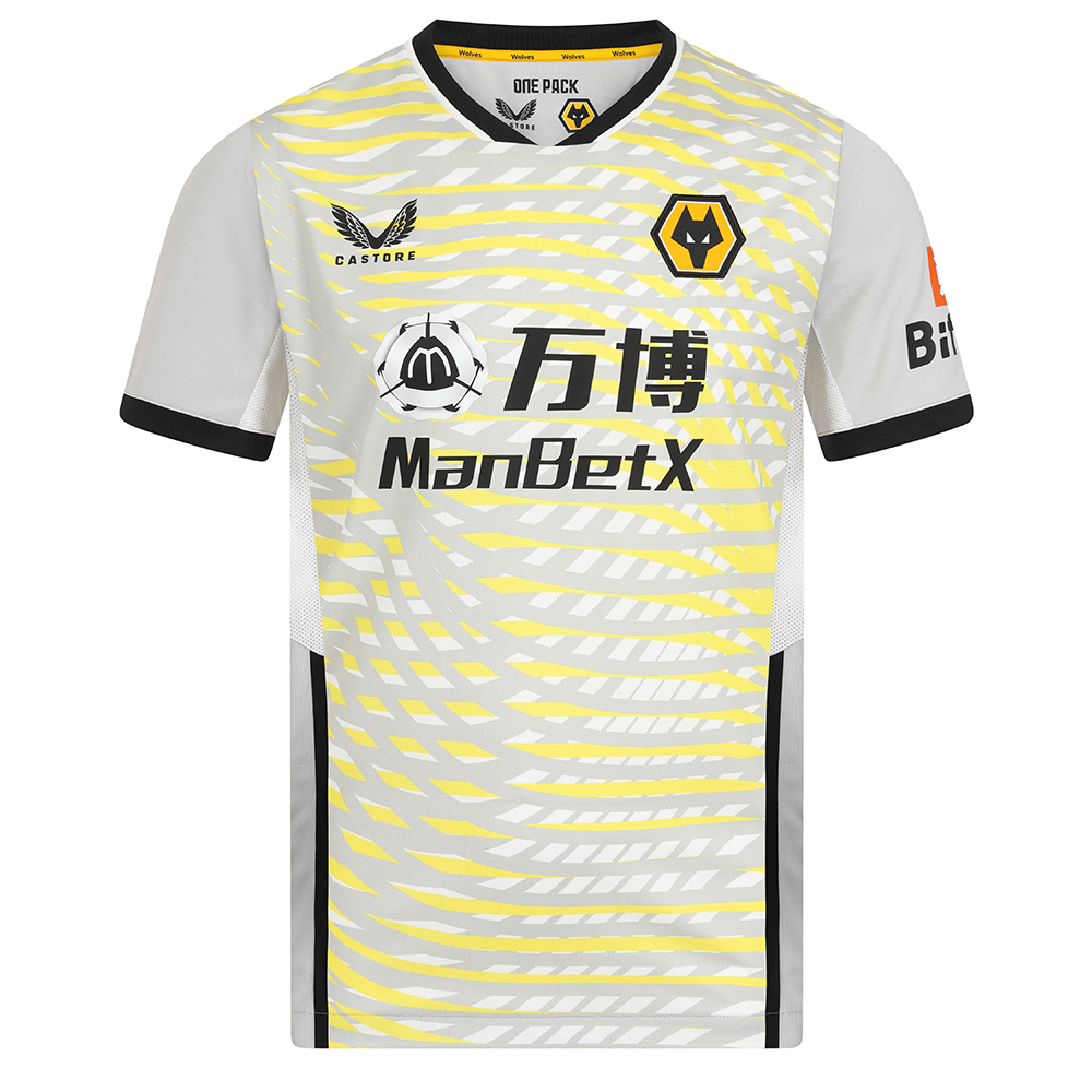 """2021-22 Wolves Home Goalkeeper Shirt - AdultBe Part Of the Pack, with the 2021-22 Wolves Home Goalkeeper Shirt and show your pride on the street and in the stands.Features Key mirroring design features to the Home Shirt so when Keepers walk on to the pitch to play there is 'Unity' between the whole team.Front pattern emulates the pattern on the rear of Home shirt, blown out and printed in vibrant colours, in addition to same neckline, cut and cuffs""""100% Polyester"""