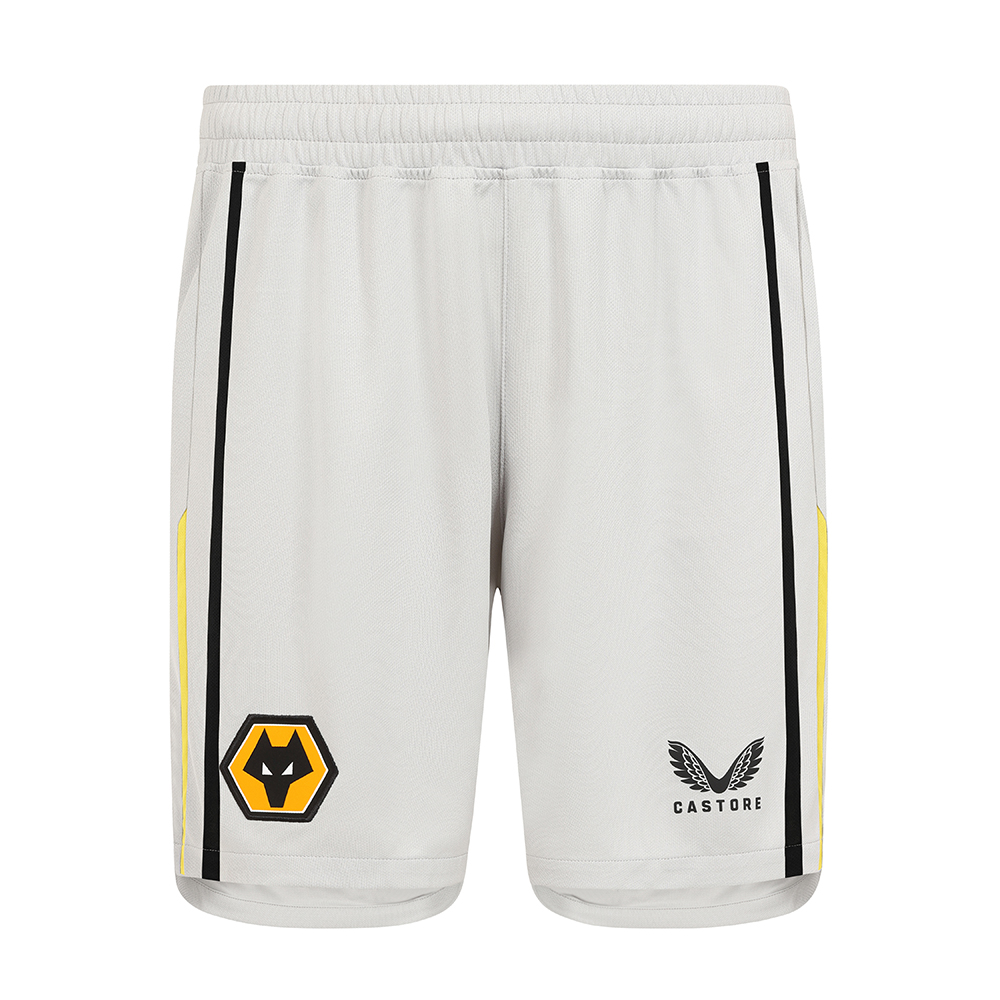 2021-22 Wolves Home Goalkeeper Short - AdultBe Part Of the Pack, with the 2021-22 Wolves Home Goalkeeper Short and show your pride on the street and in the stands.Grey Short with contrast Gold and Black piping to side seams. Wolves crest and Castore logo to right and left leg. 100% Polyester