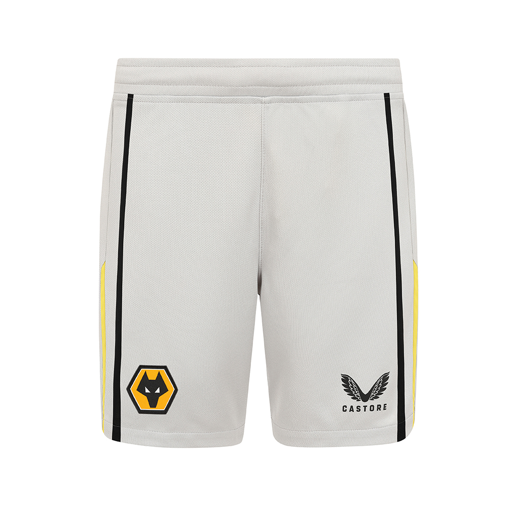 2021-22 Wolves Home Goalkeeper Short - JuniorBe Part Of the Pack, with the 2021-22 Wolves Home Goalkeeper Short and show your pride on the street and in the stands.Grey Short with contrast Gold and Black piping to side seams. Wolves crest and Castore logo to right and left leg. 100% Polyester