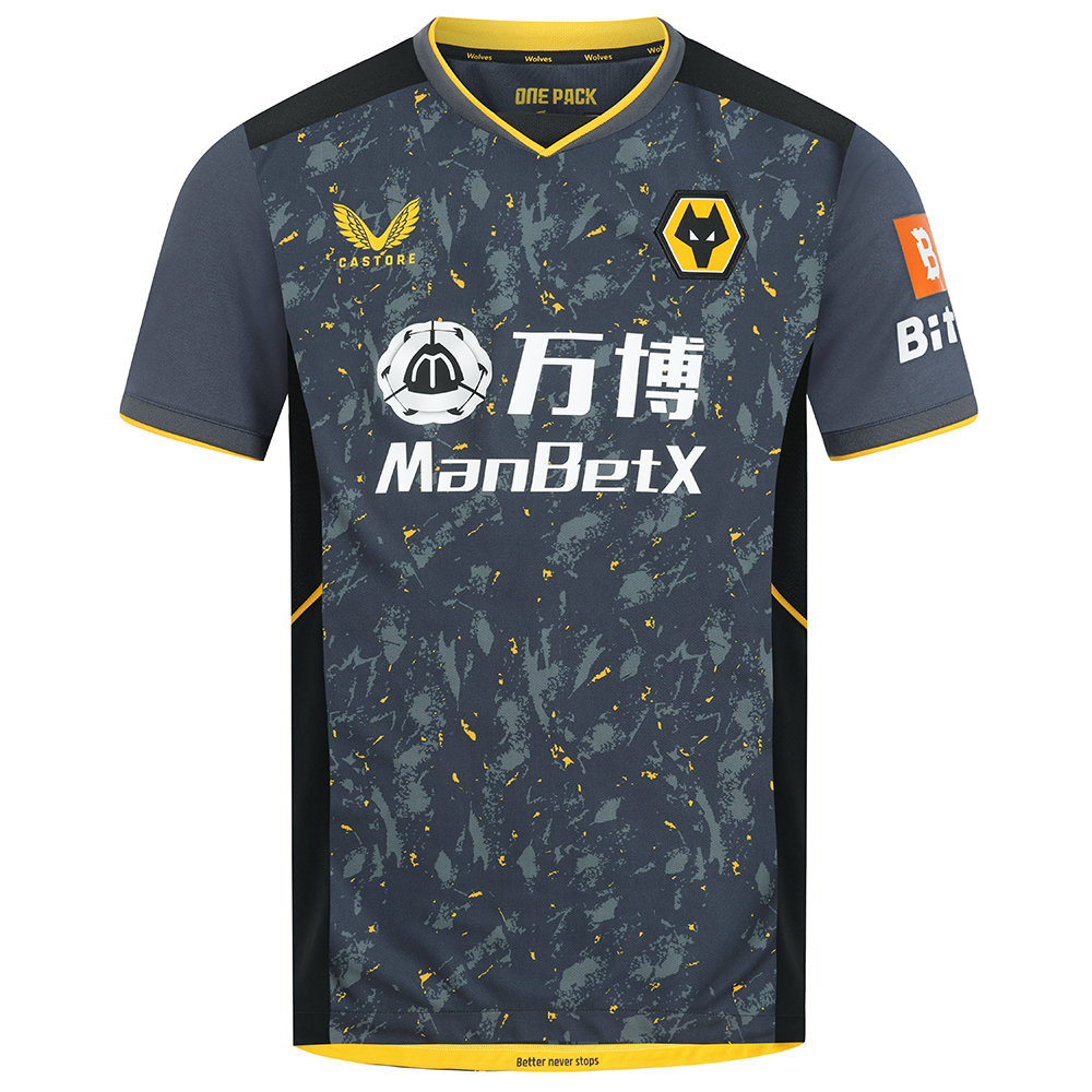 2021-22 Wolves Away Shirt - AdultBe Part of the Pack with the 2021-22 Wolves Away Shirt.The tonal greys and black with the flecks of wolves gold throughout the pattern is modern and aggressive and fits the team, playing style and clubFeatures the signature Castore Logo in Wolves Gold and Wolves iconic crest on chest.Ribbed collar and cuffs with contrast taping.Wolves back neck tapingScooped hem100% polyester
