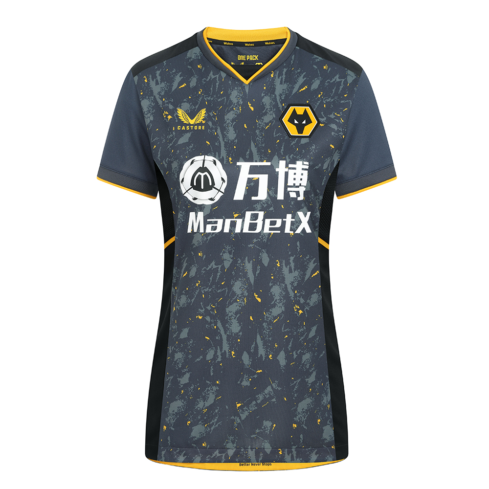 2021-22 Wolves Away Shirt - WomensBe Part of the Pack with the 2021-22 Wolves Away Shirt.The tonal greys and black with the flecks of wolves gold throughout the pattern is modern and aggressive and fits the team, playing style and clubFeatures the signature Castore Logo in Wolves Gold and Wolves iconic crest on chest.Ribbed collar and cuffs with contrast taping.Wolves back neck tapingFemale silhouette100% polyester