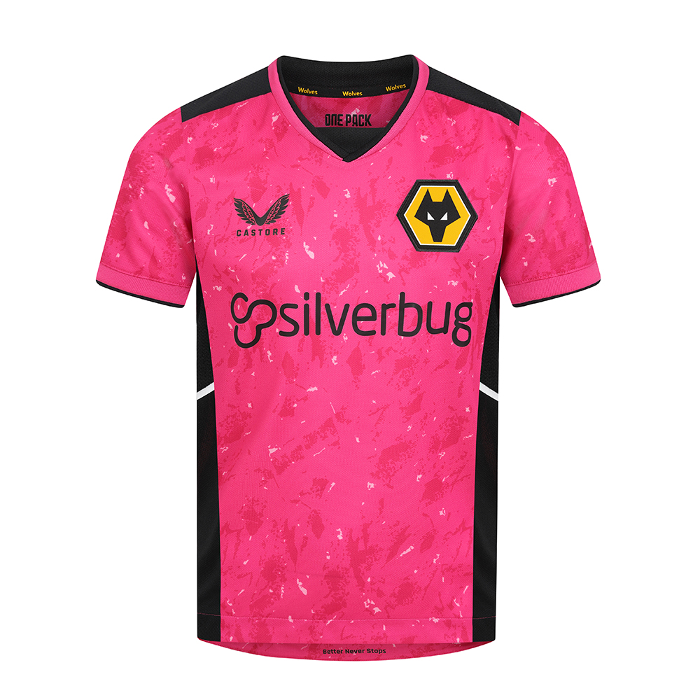 2021-22 Wolves Away Goalkeeper Shirt - JuniorBe Part Of the Pack, with the 2021-22 Wolves Goalkeeper Away Shirt and show your pride on the streets and in the standsThe Modern design print pattern Syncs to the away players shirt, The unity with the Team continues.In a punchy vibrant pink this kit offers maximum visibility on the pitchRib collar and cuffsWolves back neck taping100% polyester
