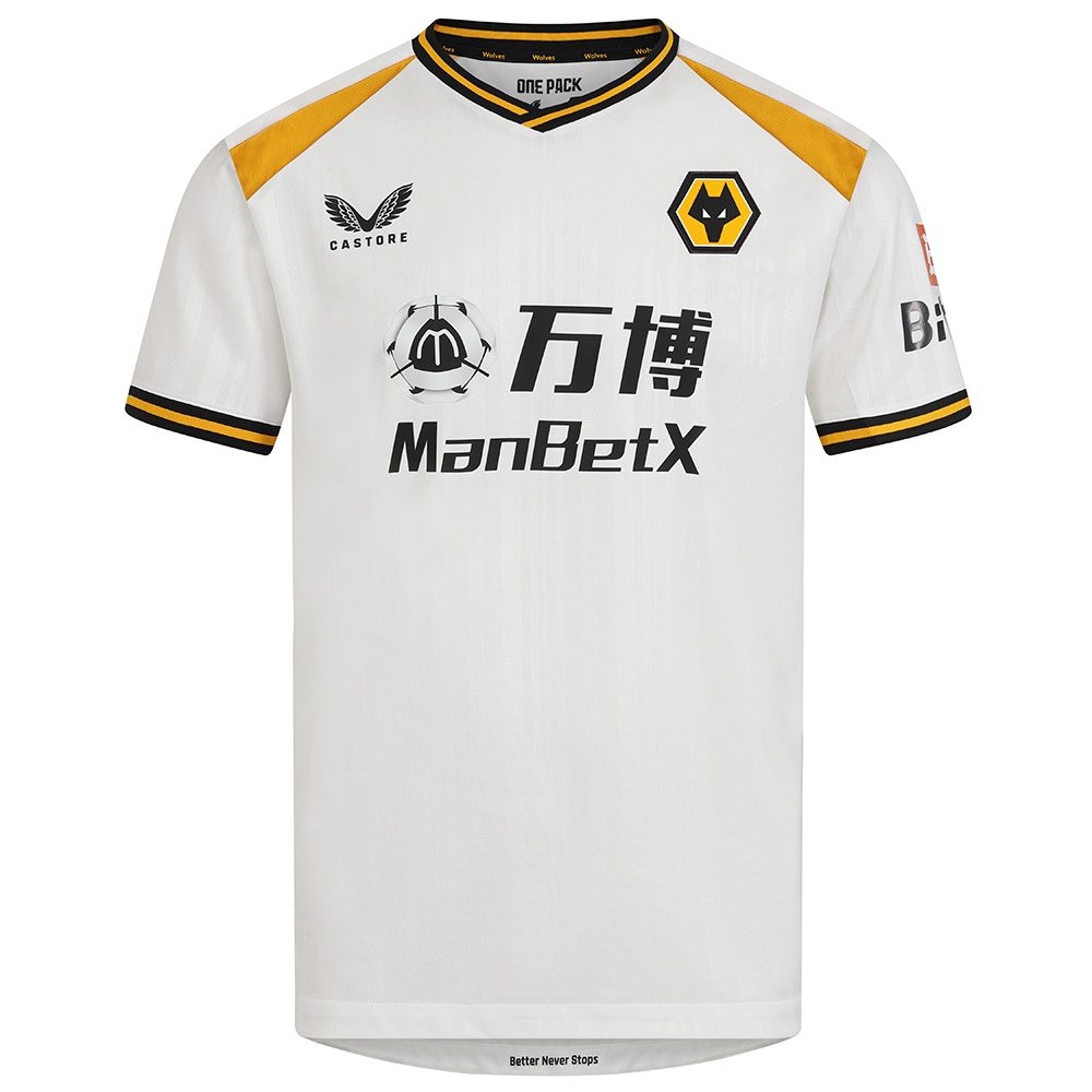 2021-22 Wolves 3rd Shirt - AdultBe Part Of the Pack, with the 2021-22 Wolves Third Shirt and show your pride on the street and in the stands.Matte/shine white jacquard knit fabric on body and sleeves with contrast Wolves gold shoulder panels.Features striped rib collar and cuffsWolves back neck tapingScooped hemFeatures the signature Castore Logo and Wolves iconic crest on chest.100% Polyester