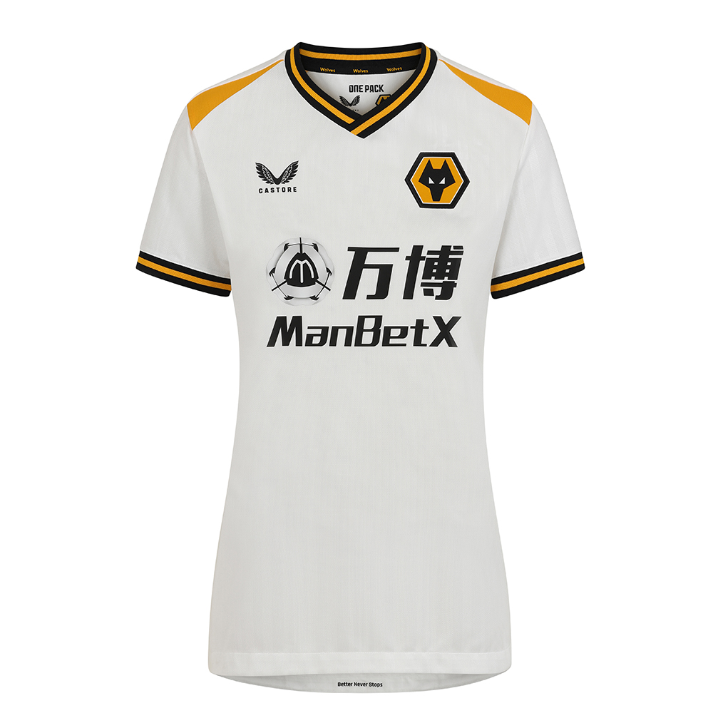 2021-22 Wolves 3rd Shirt - WomensBe Part Of the Pack, with the 2021-22 Wolves Third Shirt and show your pride on the street and in the stands.- Matte/shine white jacquard knit fabric on body and sleeves with contrast Wolves gold shoulder panels. - Features striped rib collar and cuffs- Wolves back neck taping- scooped hem- Features the signature Castore Logo and Wolves iconic crest on chest.- Female silhouette- 100% Polyester
