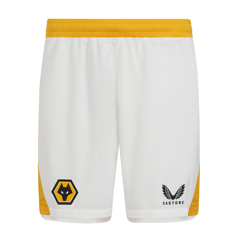 2021-22 Wolves 3rd Short - AdultBe Part Of the Pack, with the 2021-22 Wolves Third Short and show your pride on the streets and in the stands. - Contrast Wolves gold side panels and waistband- features Wolves coloured crest and Castore logo on legs- Drawstring fastening- 100% Polyester