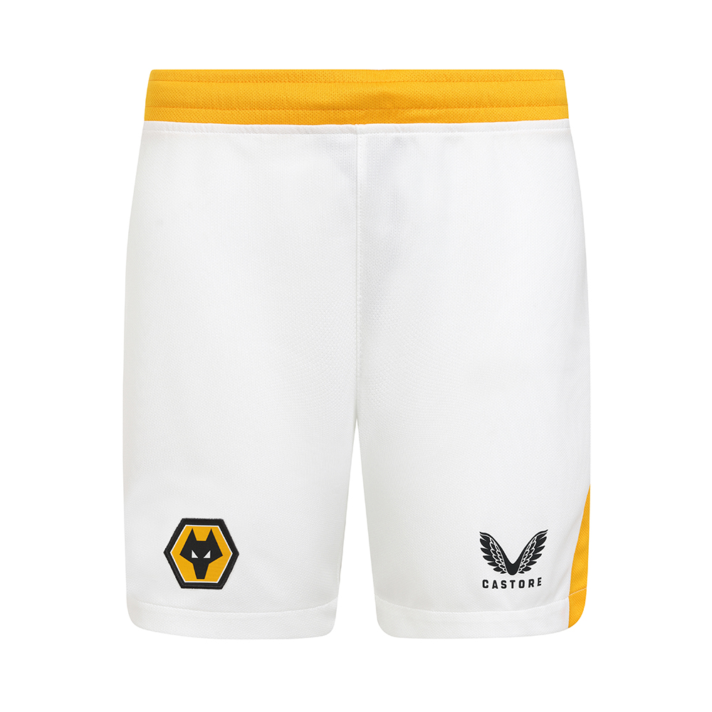 2021-22 Wolves 3rd Short - JuniorBe Part Of the Pack, with the 2021-22 Wolves Third Short and show your pride on the streets and in the stands.Contrast Wolves gold side panels and waistbandFeatures Wolves coloured crest and Castore logo on legsDrawstring fastening100% Polyester