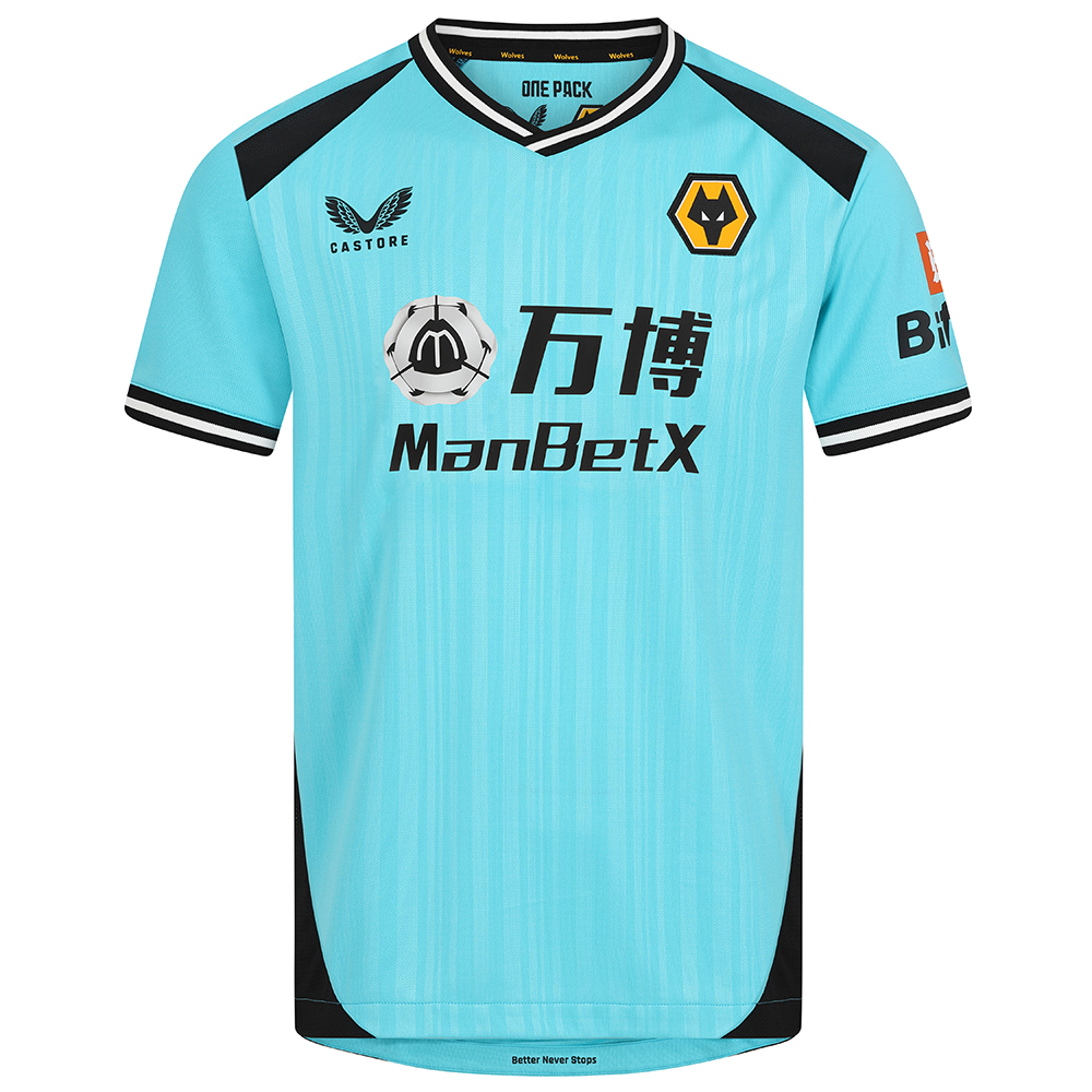 2021-22 Wolves 3rd Goalkeeper Shirt - AdultBe Part Of the Pack, with the 2021-22 Wolves Third Goalkeeper Shirt and show your pride on the streets and in the standMatte/shine turquoise jacquard knit fabric on body and sleeves with contrast black shoulder panels. Features the signature Castore Logo and Wolves iconic crest on chestStriped rib collar and cuffs in black and whiteWolves back neck tapingScooped hem100% Polyester