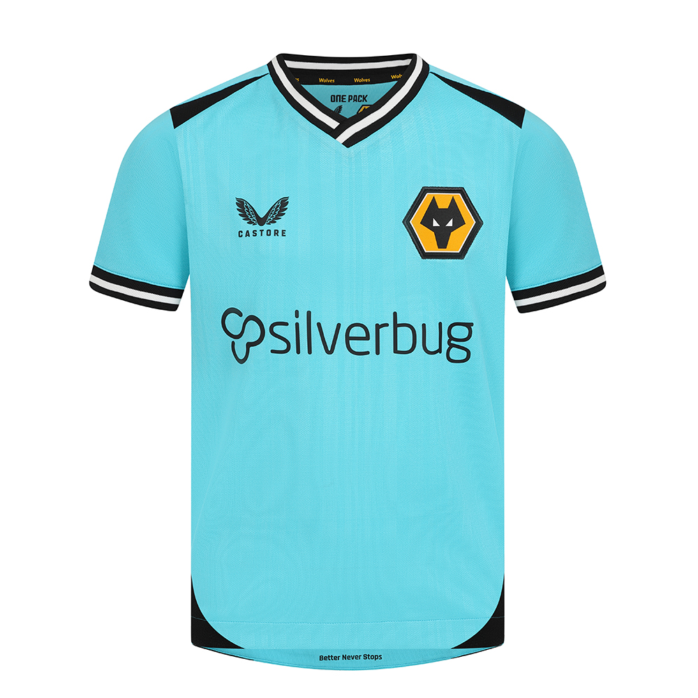 2021-22 Wolves 3rd Goalkeeper Shirt - JuniorBe Part Of the Pack, with the 2021-22 Wolves Third Goalkeeper Shirt and show your pride on the streets and in the standMatte/shine turquoise jacquard knit fabric on body and sleeves with contrast black shoulder panels.Features the signature Castore Logo and Wolves iconic crest on chestStriped rib collar and cuffs in black and whiteWolves backneck tapingScooped hem100% Polyester