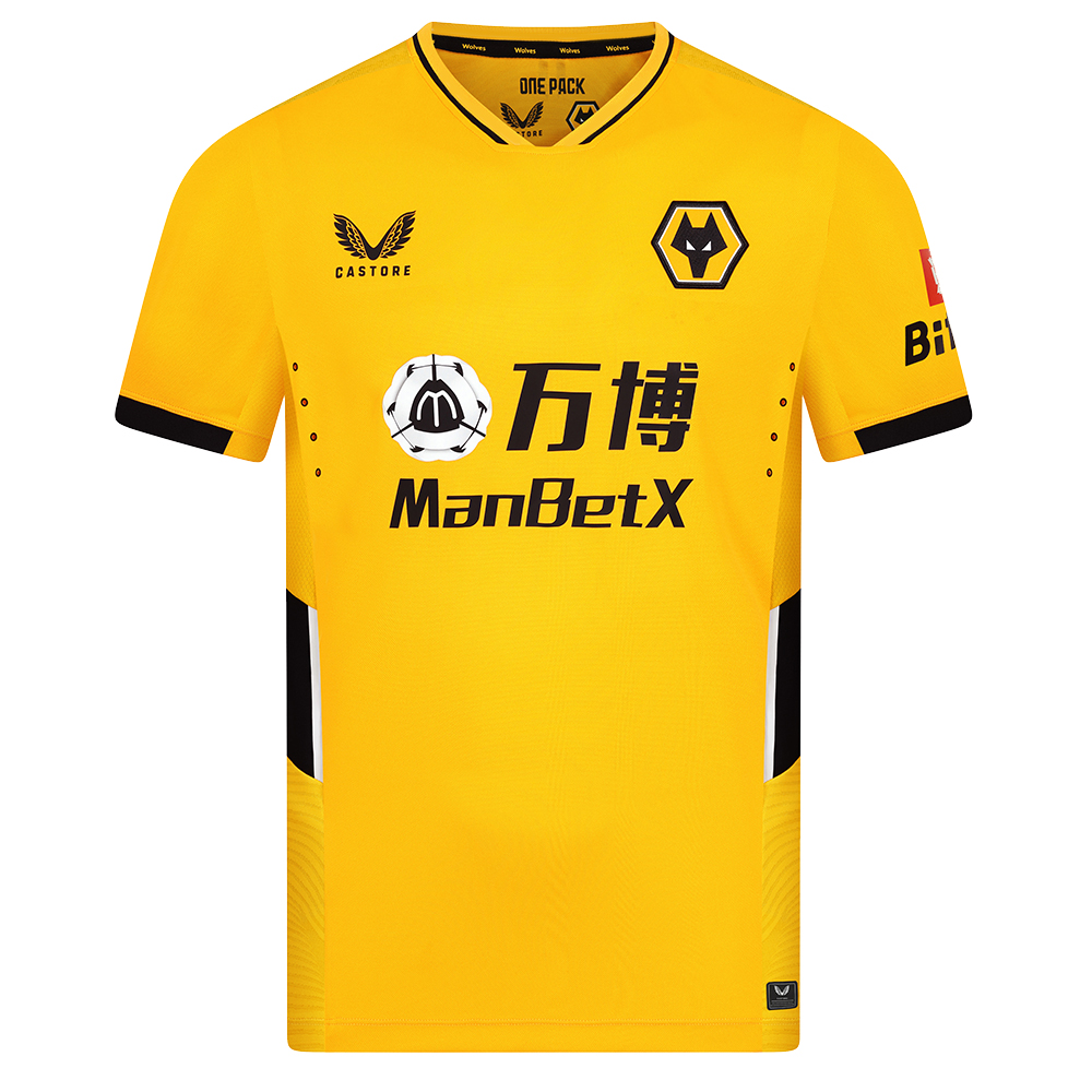 2021-22 Wolves Pro Home Shirt - AdultBe Part of the Pack with the 2021-22 Wolves Pro Home Shirt, as worn by the players during the 2021-22 season.Detailed colour matching and dyeing to be able to get the Wolves gold correct and bring it back home to the club and fans.Matte shine jacquard fabric to the back and sides emulating flow and movement on the pitch and between the players.Modern rib neckline with contrast pop coloursMesh underarm panels for maximum breathabilityDisplaced angular seam lines with contrast colour side body panels for a modern, impactful look and feelLaser cut detail at high sweat zones to ensure maximum breathability and minimal distraction from the shirt for the players, so they can concentrate on the game in hand.