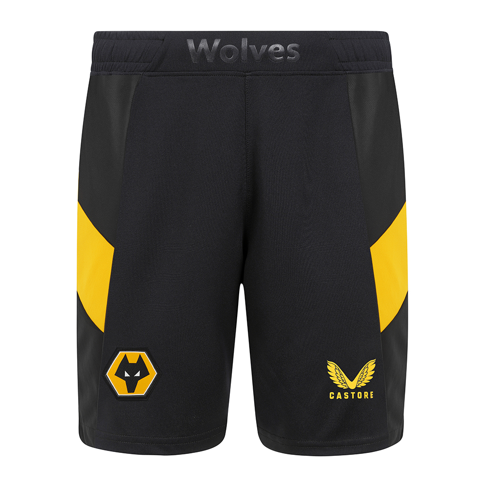 2021-22 Wolves Pro Home Short - AdultBe Part of the Pack with the 2021-22 Wolves Pro Home Shirt, as worn by the players during the 2021-22 season.Home black shorts with 'Wolves' wording at the centre front waistband is a personal touch for the players and fansContrast Gold side panels