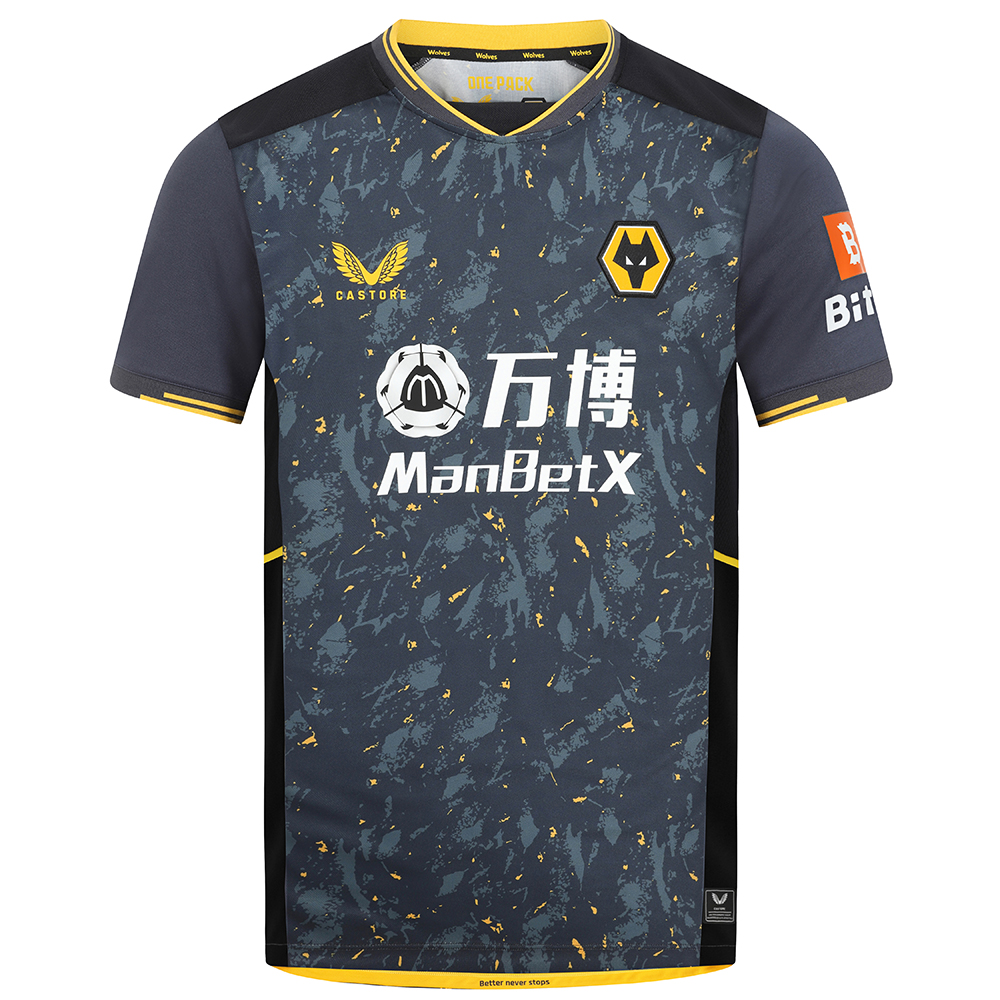 2021-22 Wolves Pro Away Shirt - AdultBe Part of the Pack with the 2021-22 Wolves Pro Away Shirt, as worn by the players during the 2021-22 season.The tonal greys and black with the flecks of wolves gold throughout the pattern is modern and aggressive and fits the team, playing style and clubLaser cut detail at high sweat zones to ensure maximum breathability and minimal distraction from the shirt for the players,so they can concentrate on the game in hand.Scooped hem with the sides being higher for less restriction at the hips and thighs during play.Features the signature Castore Logo in Wolves Gold and Wolves iconic crest on chest.Ribbed collar and cuffs with contrast taping.Wolves back neck taping'Better Never Stops' Castore slogan on inner bottom hemMain body & underarm mesh: 100% recycled polyester