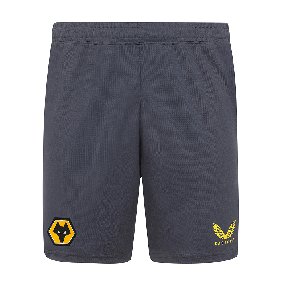 2021-22 Wolves Pro Away Short - AdultBe Part of the Pack with the 2021-22 Wolves Pro Away Shorts, as worn by the players during the 2021-22 season.These Wolves Away shorts have been crested using pique knit fabric to improve breathability for a more comfortable fitContrast side panelsDrawcord waistband finished with Castore branded tips.100% recycled polyester